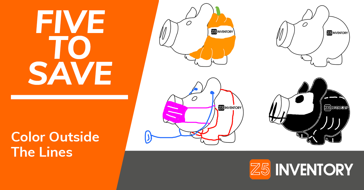 The Z5 Piggy Bank has become a coloring book with versions that look like a pumpkin, clinician, and skeleton.