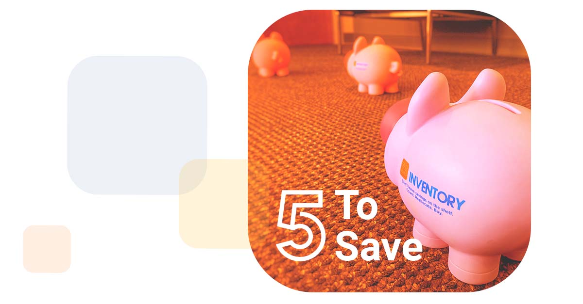 floating chiclets reveal a series of Z5 Piggy Banks following each other out the door with the words 5 To Save overlayed in white