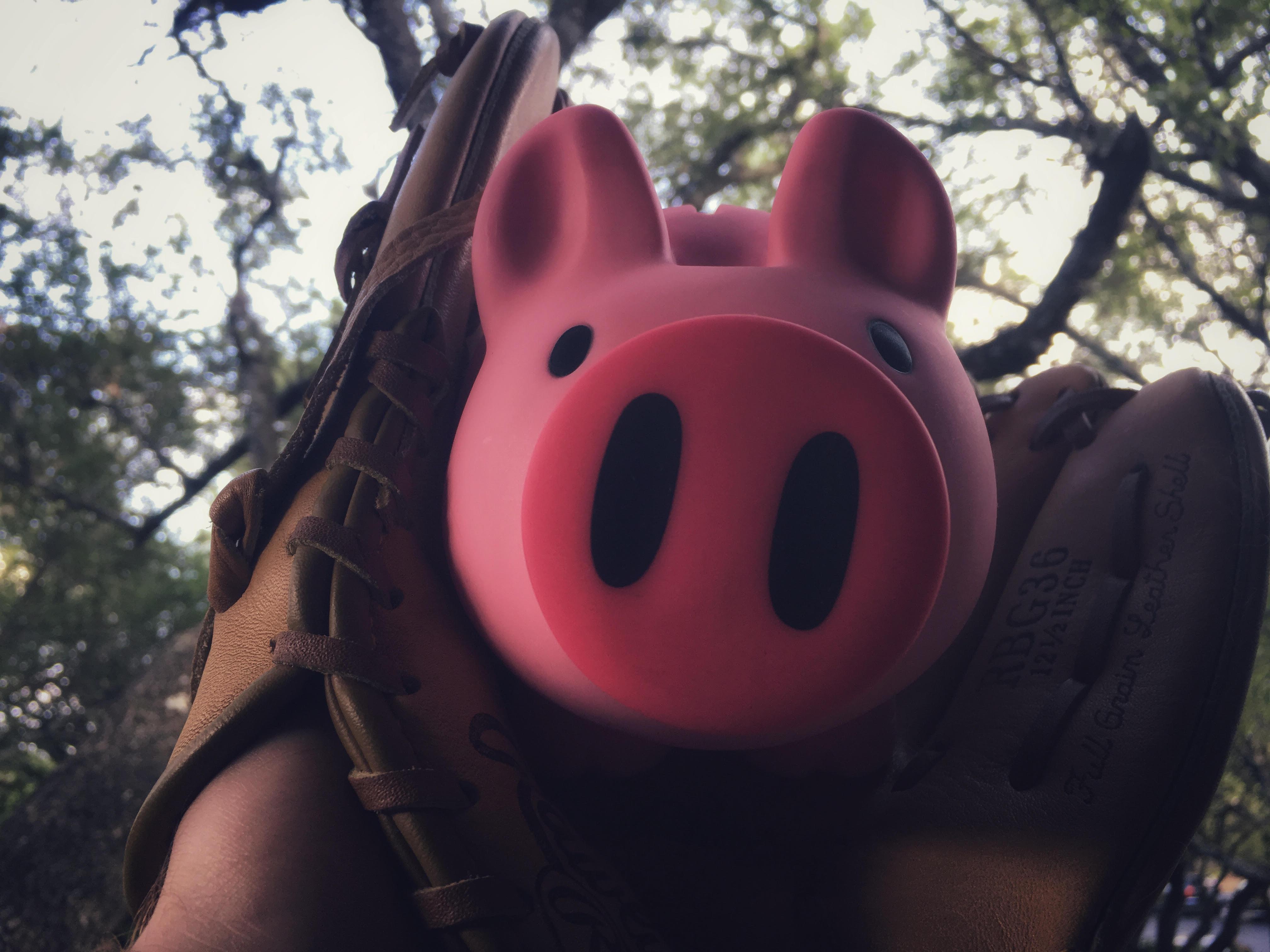The Z5 piggy bank gets caught in a baseball glove.