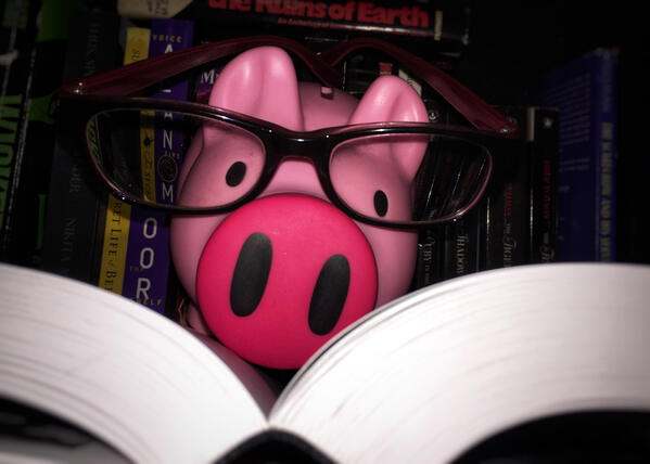 The Z5 Piggy Bank reads a book to learn about the supply chain.