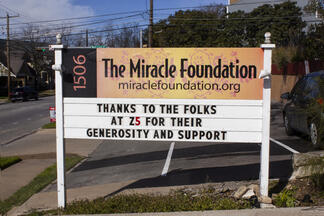 Miracle Foundation displays a marquee thanking Z5 Inventory for their 50 For 50 program donation.