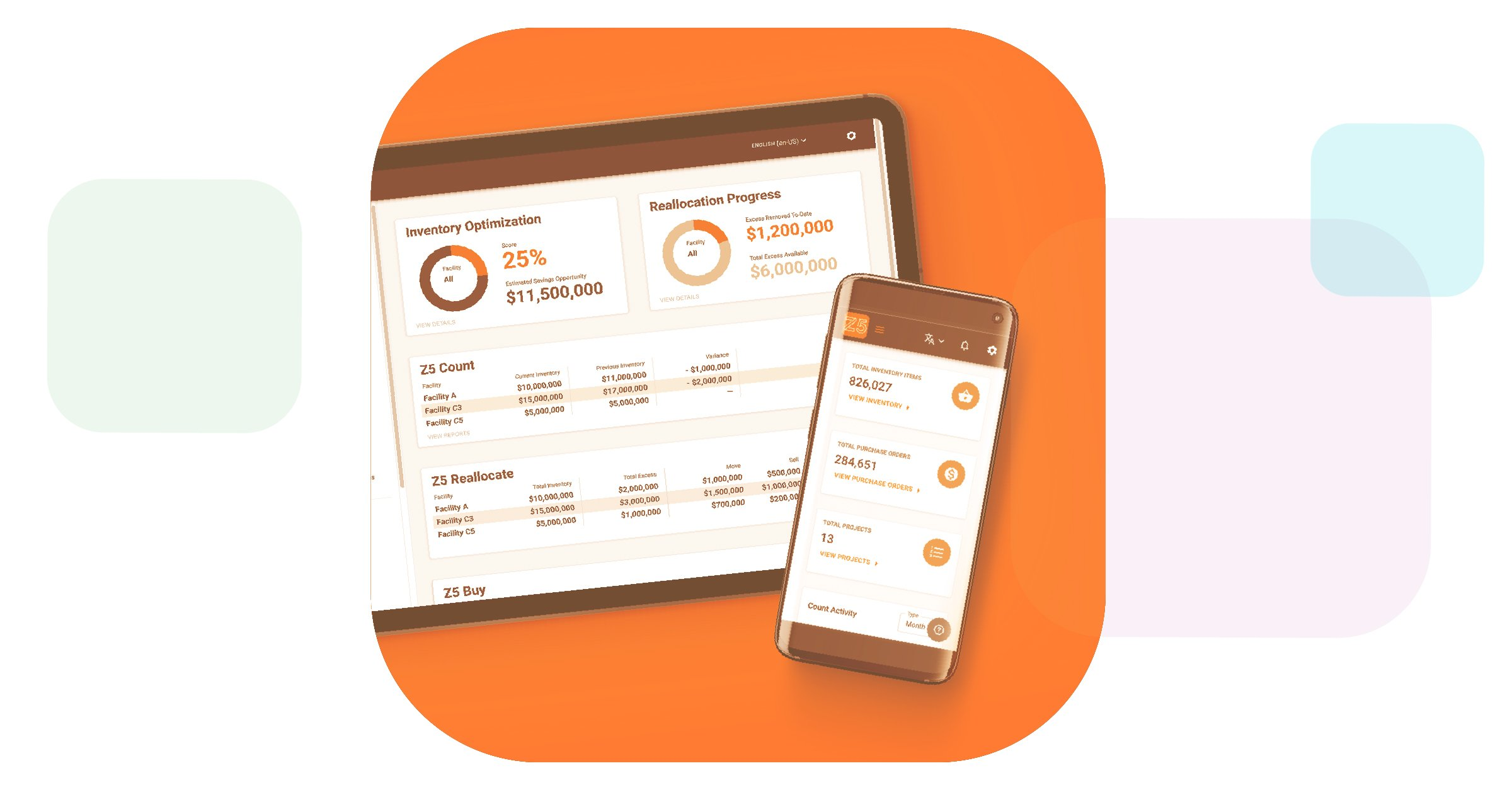 a preview of the new Z5 Inventory Platform in the form of a mobile app and web dashboard that allows healthcare providers to identify excess inventory quickly and easily