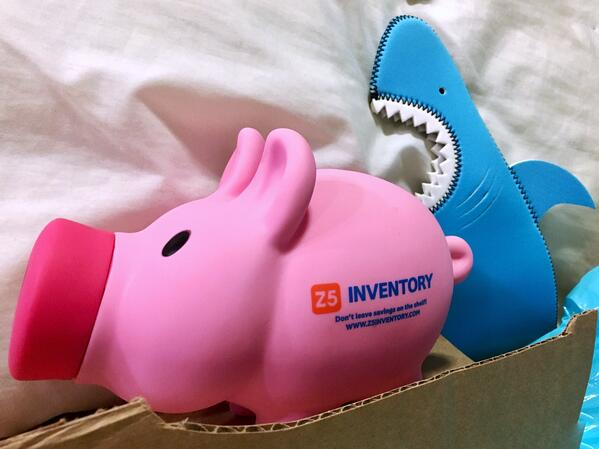 The Z5 piggy bank is attacked by a shark. A very real shark.