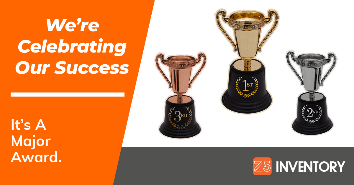 Trophies for first, second, and third accompany the announcement of Z5 Inventory winning an industry award.