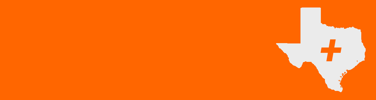 A white silhouette of the state of Texas with an orange medical cross over its center.