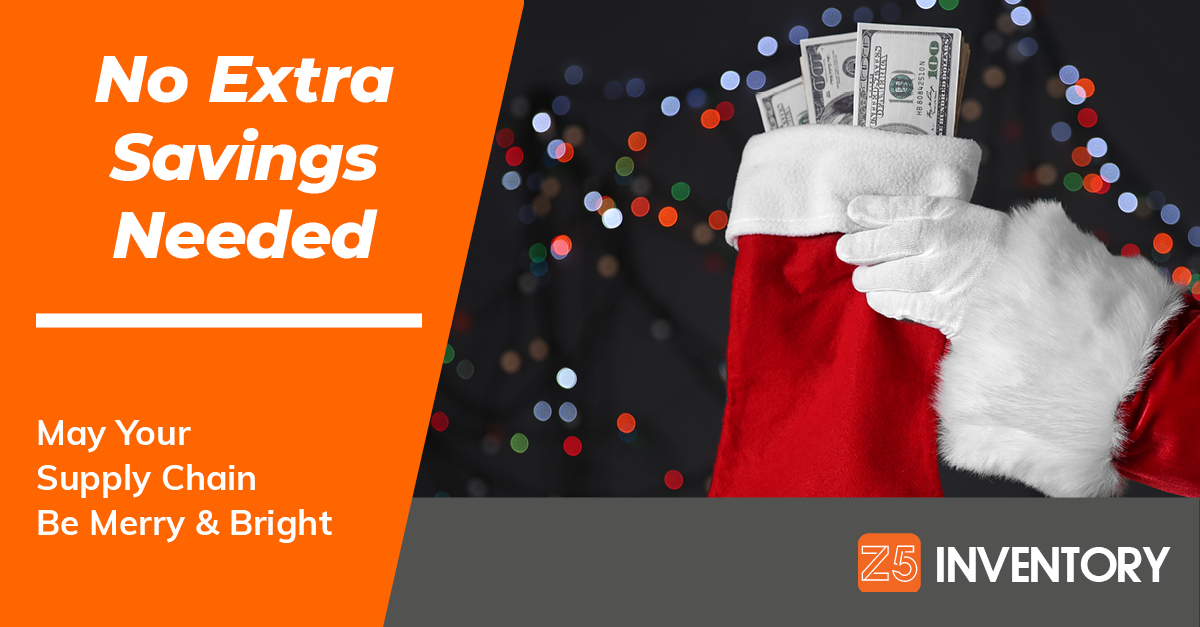 A Santa Claus hand holds up a stocking filled with hundred dollar bills to illustrate savings in the holiday season and all year round in the healthcare supply chain.