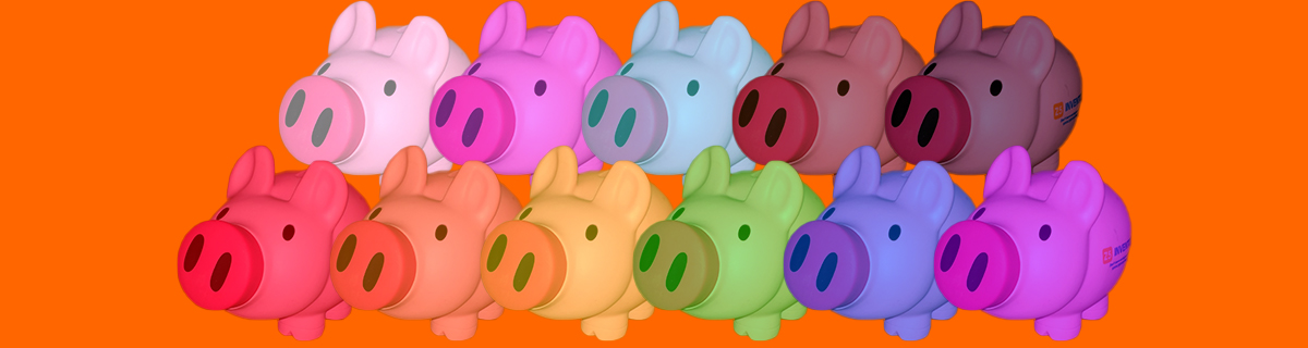 The Z5 Piggy Bank arrayed in a rainbow of colors representing the queer community and other vulnerable populations.