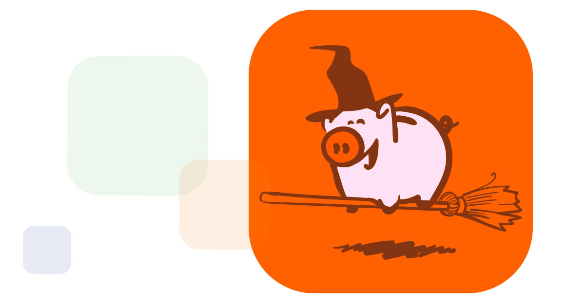 the Z5 Piggy Bank flying on a broom wearing a witch's hat over some colored chiclets