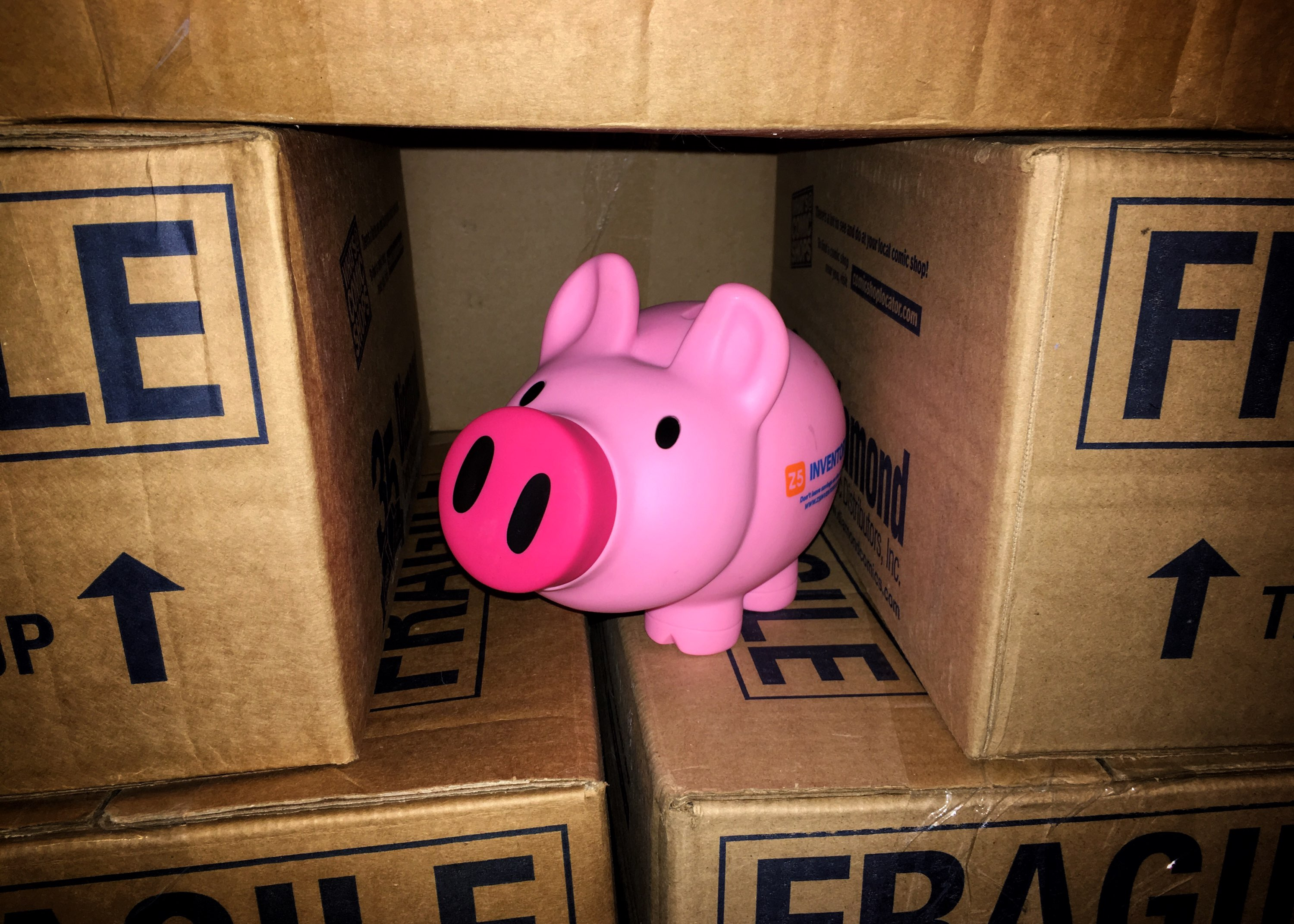 The Z5 piggy bank is surrounded by Amazon shipping boxes.